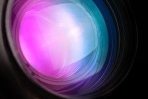 Photo camera telephoto lens front glass, macro shot